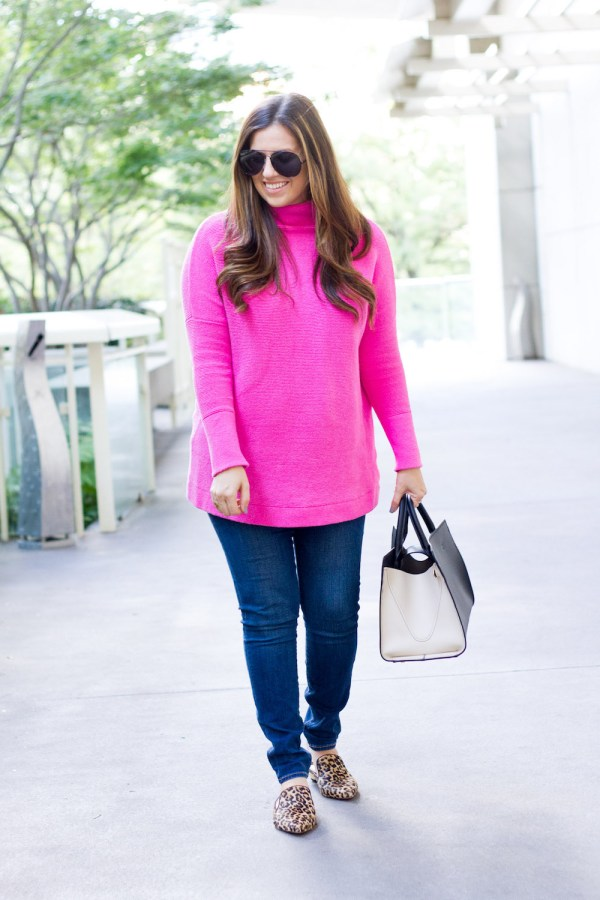Bright Pink Sweater   Leopard Flats - Sunflowers and Stilettos