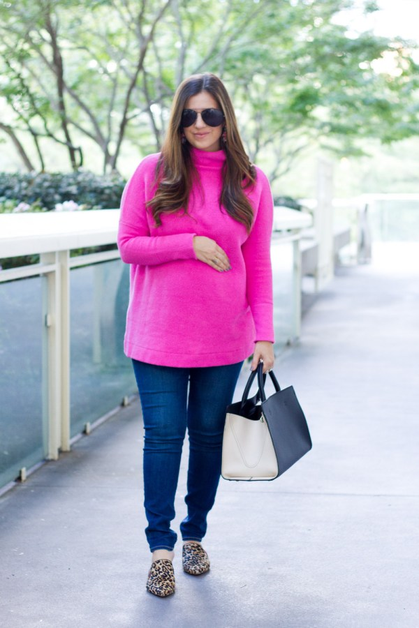 Free People Bright Pink Sweater with leopard mules _ styled by Jaime Cittadino of Sunflowers and Stilettos fashion blog
