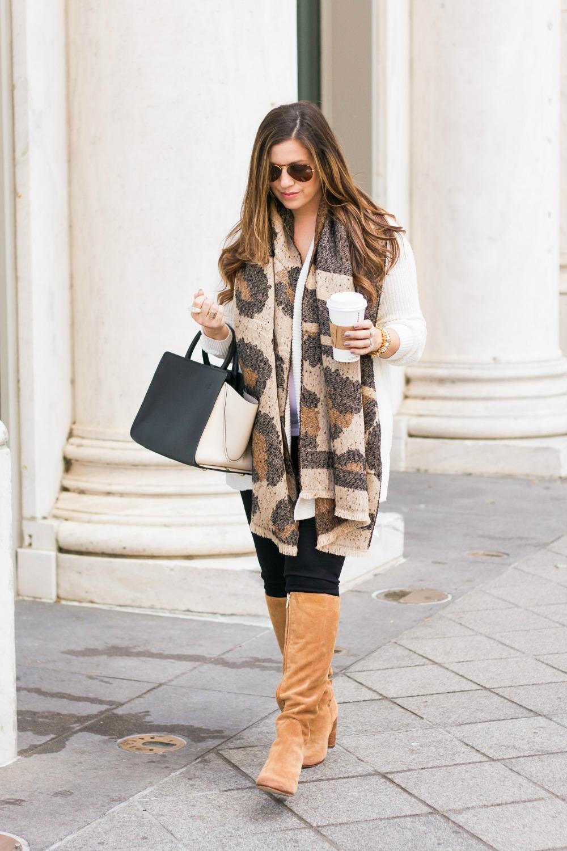 Leopard Scarf, Camel Boots, Zac Zac Posen Bag