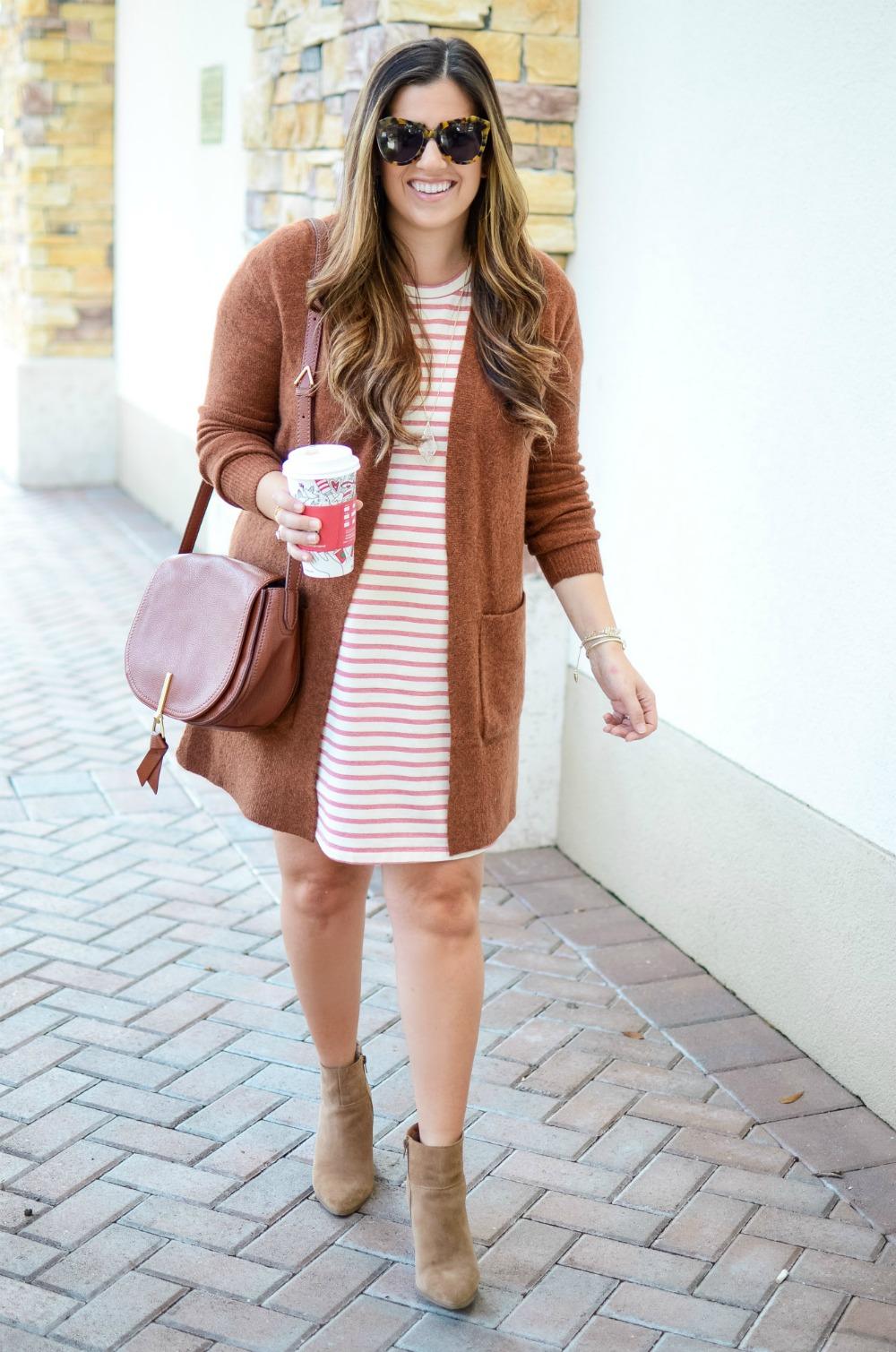 cognac cardigan, striped t-shirt dress, taupe booties
