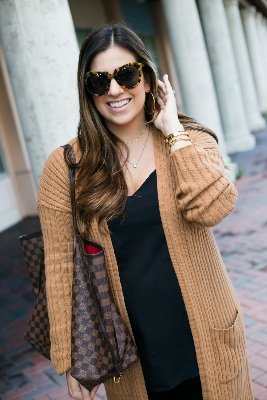 camel cardigan, Karen Walker Number One Sunglasses, Argento Vivo Jewelry