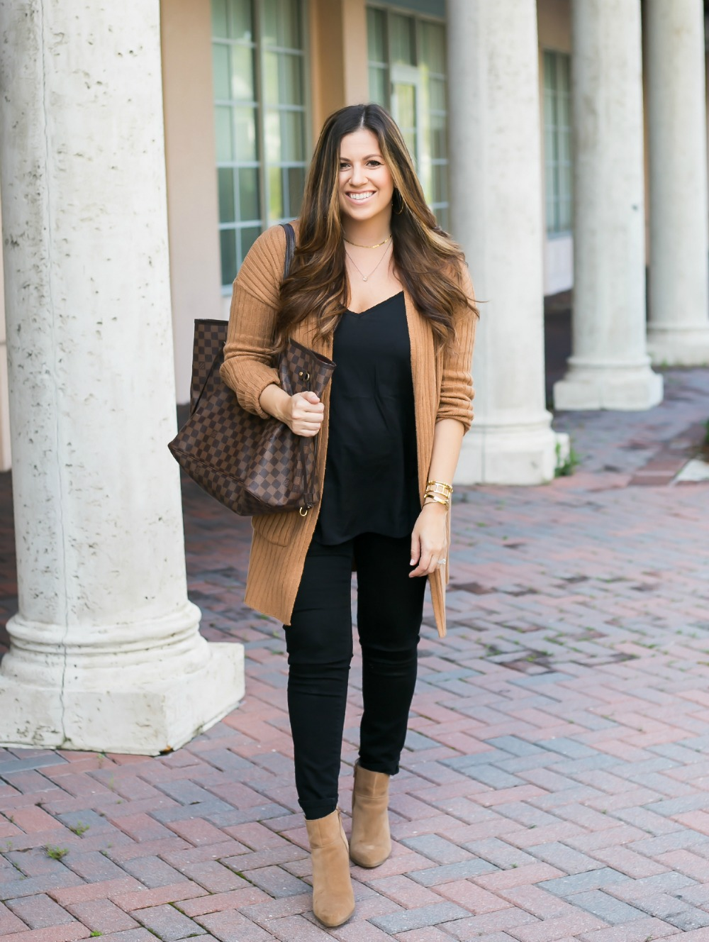 camel and black outfit for fall, styled by Florida Fashion blogger Jaime Cittadino of Sunflowers and Stilettos