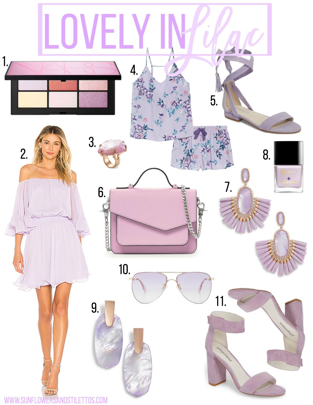 Lovely in Lilac, 2018 Pantone Color of the year Ultra Violet, Lilac dress, Lilac earrings, Lilac sandals