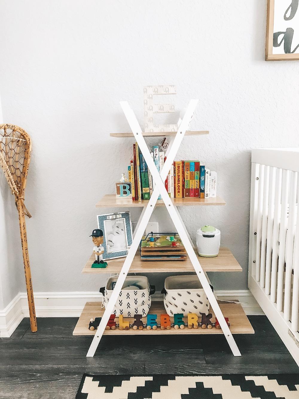 baby nursery book shelf decor