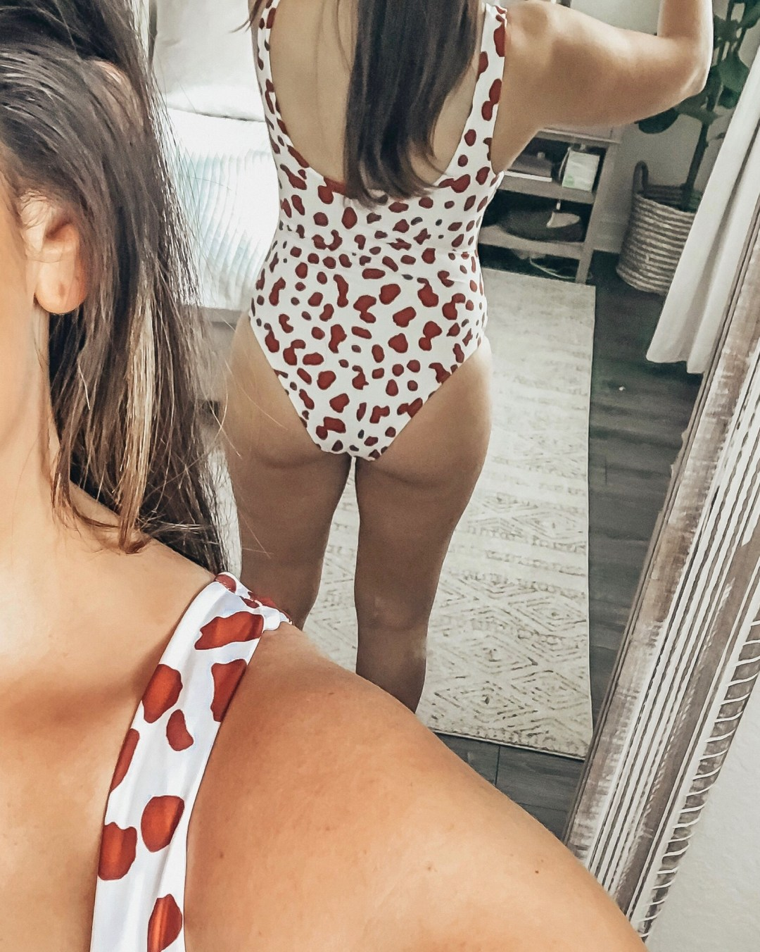 Back of Red Leopard Amazon Swimsuit