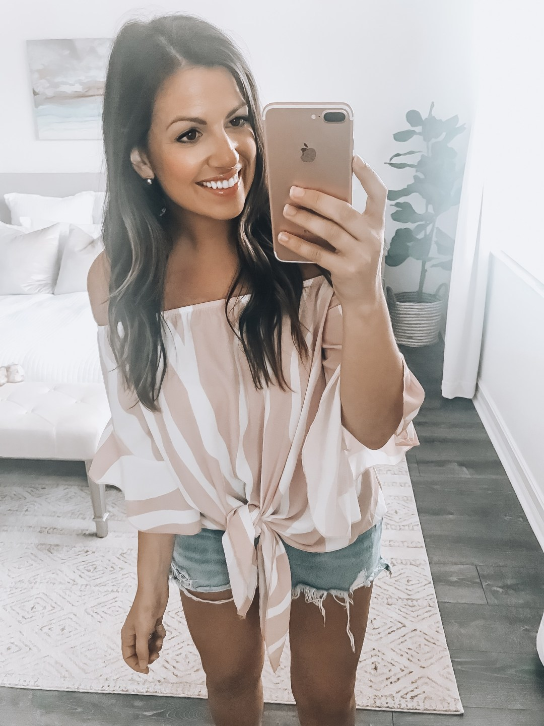 Amazon off shoulder pink white top, Tie Front Off Shoulder Top