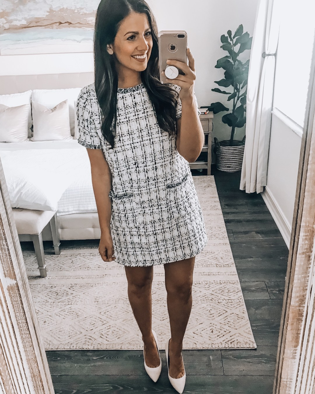 Amazon fashion twill white dress, twill tweed office dress, Chanel lookalike dress, Jaime Cittadino Florida fashion blogger