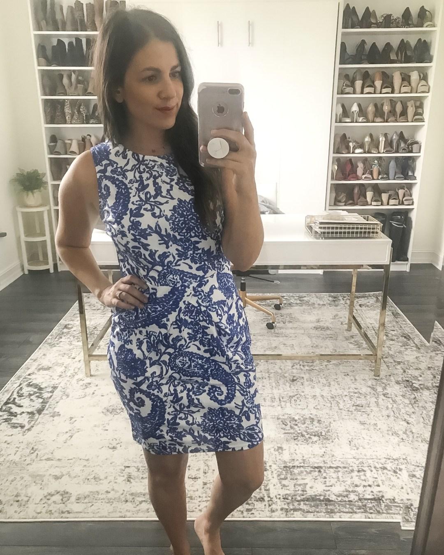 blue white tribal paisley dress, Amazon fashion dress, Amazon dress