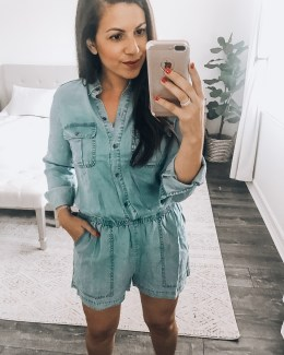 long sleeve chambray romper, Amazon fashion chambray romper, Daily Ritual romper