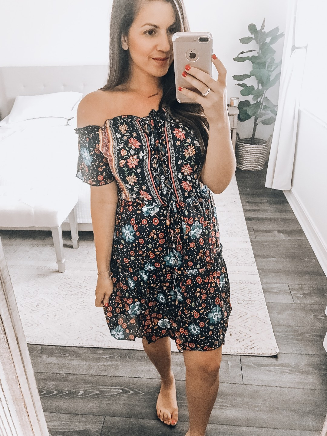 Amazon floral off shoulder boho mini dress, Amazon fashion boho dress