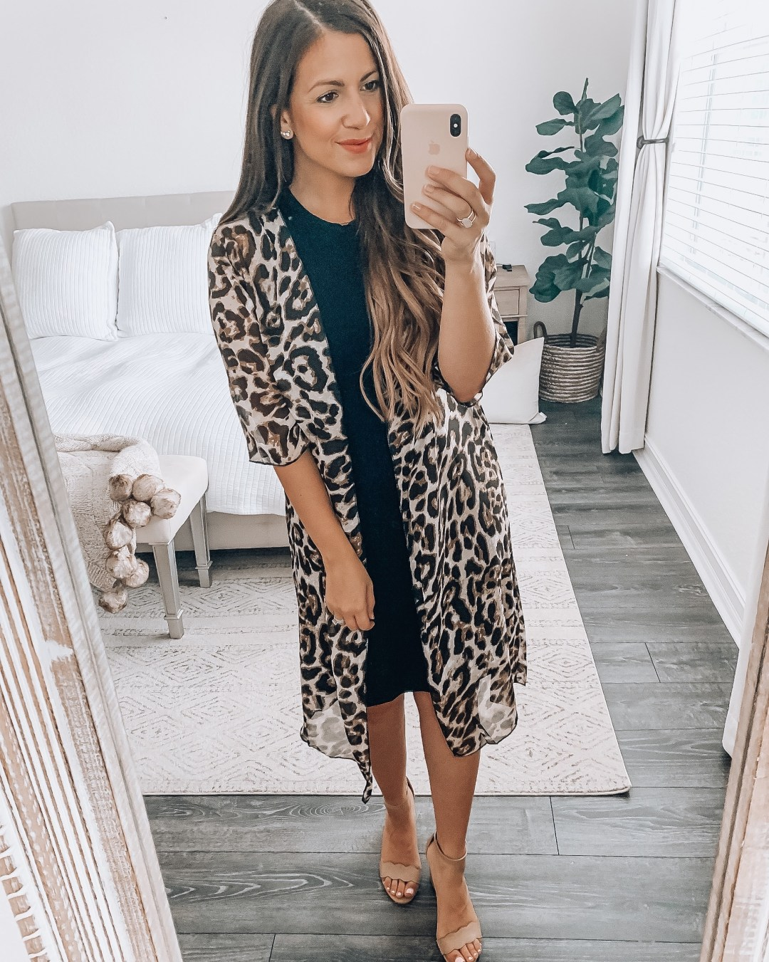 Amazon Fashion leopard duster with Daily Ritual dress