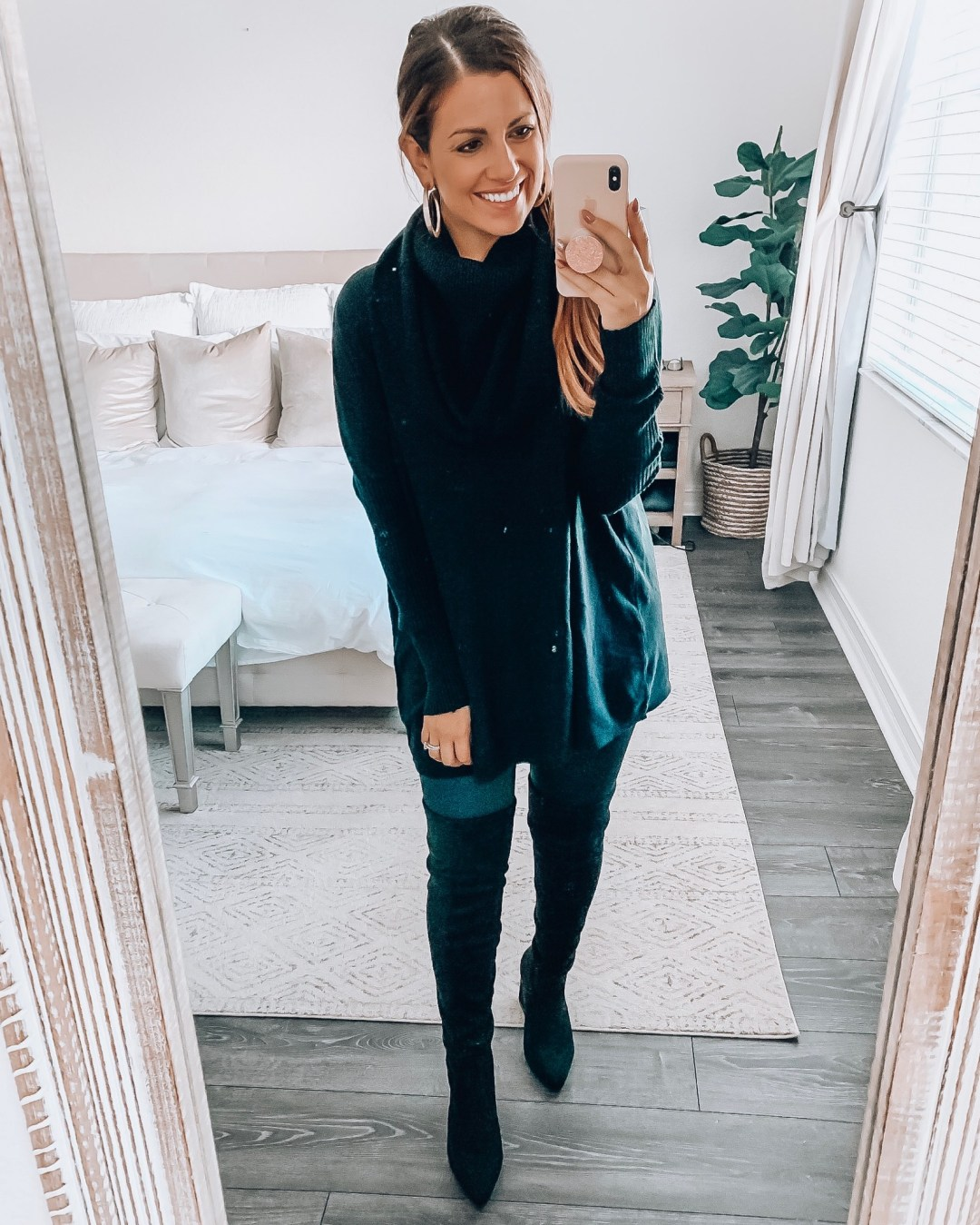 cowl neck sweater, all black outfit