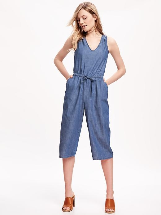 Wide-Leg Chambray Romper for Women