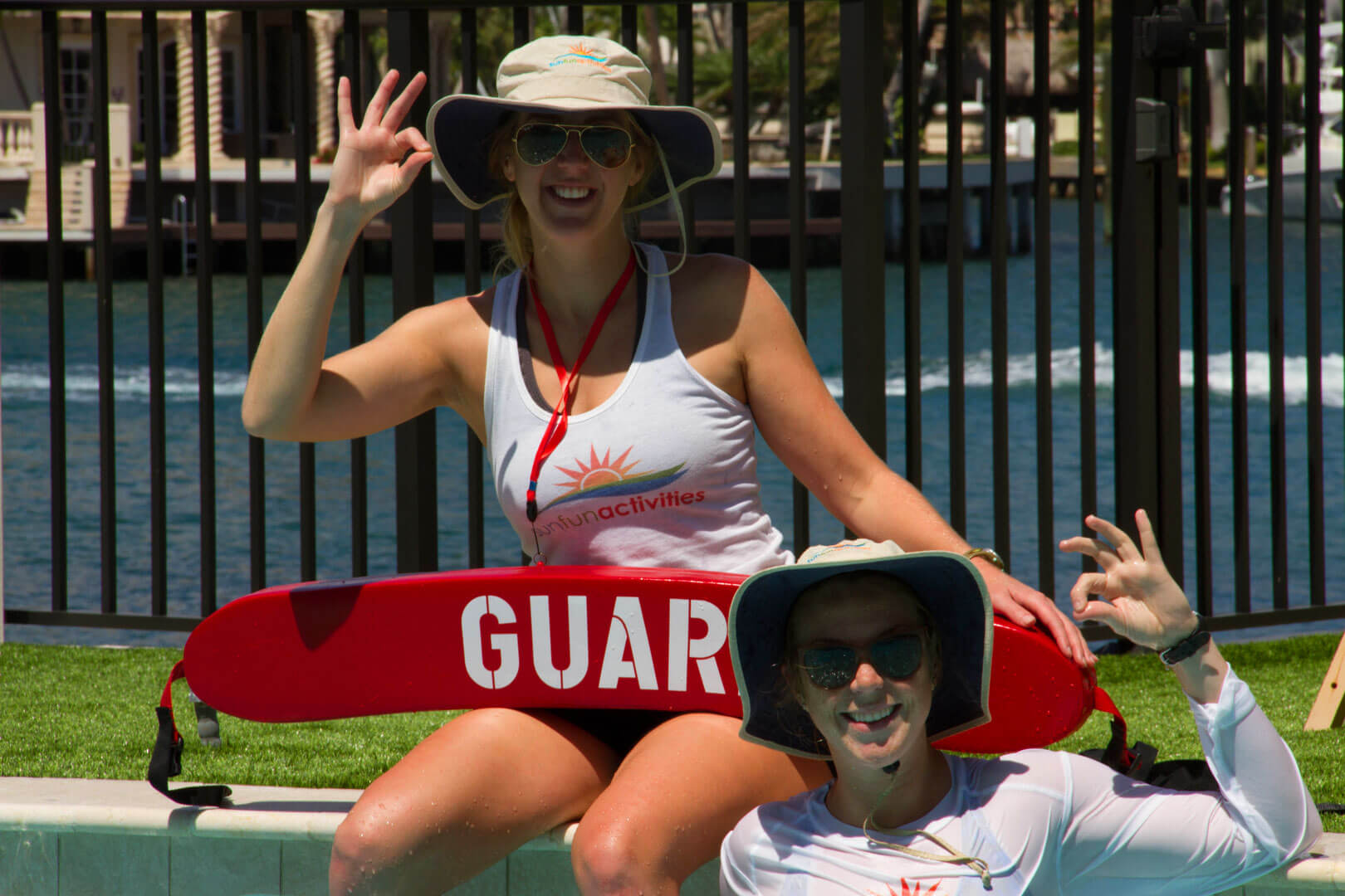 SunFun Activities Emily and Kelsey Stamile Lifeguarding at the Pool
