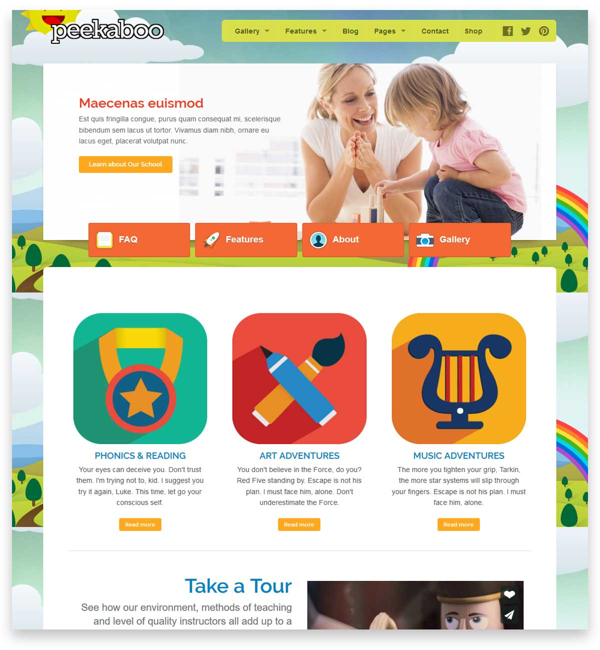 Peekaboo - Children WordPress Theme for building the website of the school and kindergarten.