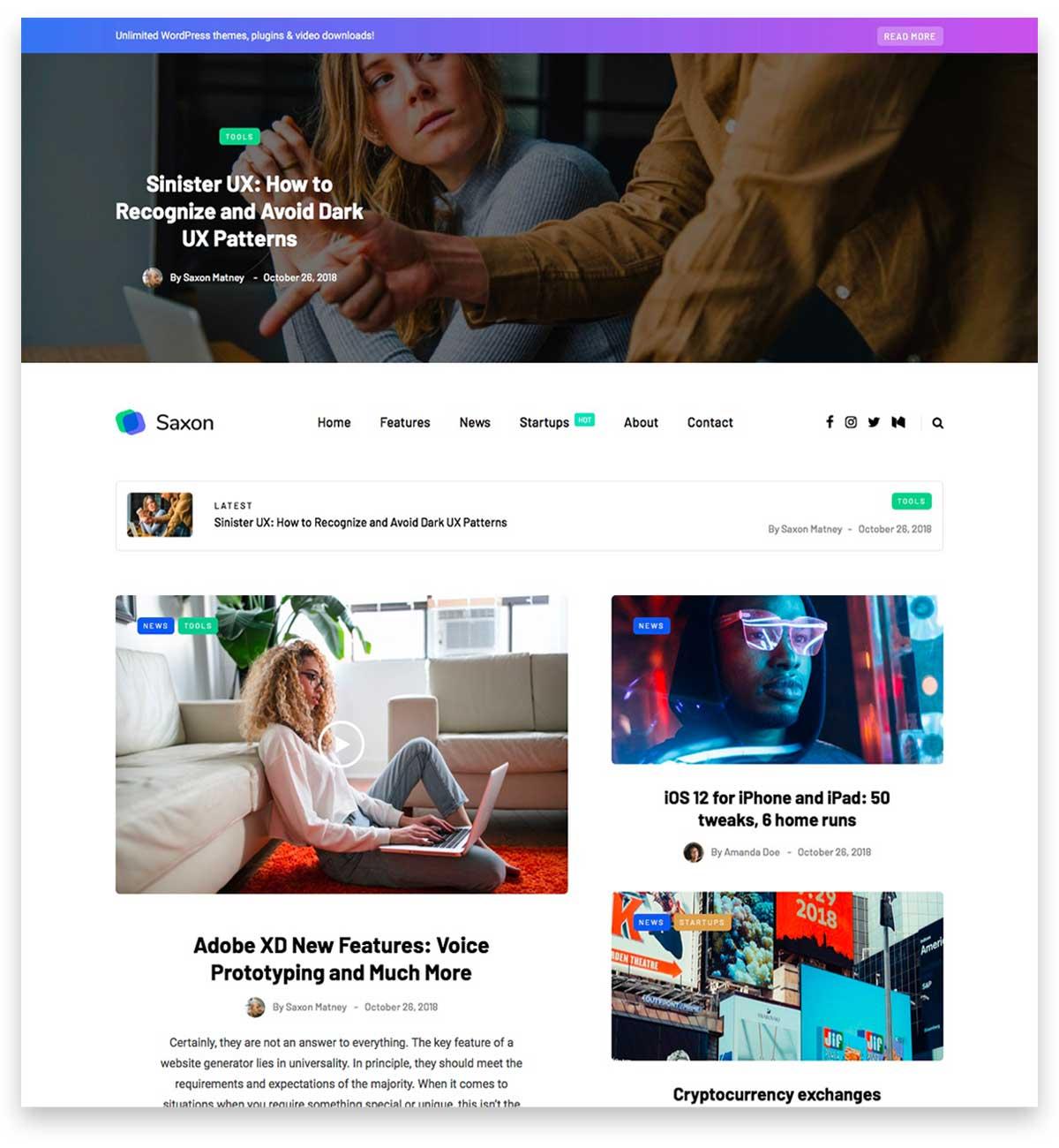 Saxon - Viral Content Blog & Magazine Marketing WordPress Theme