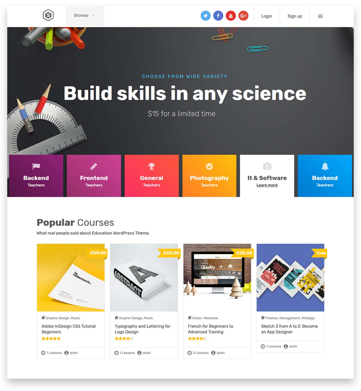 Skilled | School Education Courses WordPress Theme