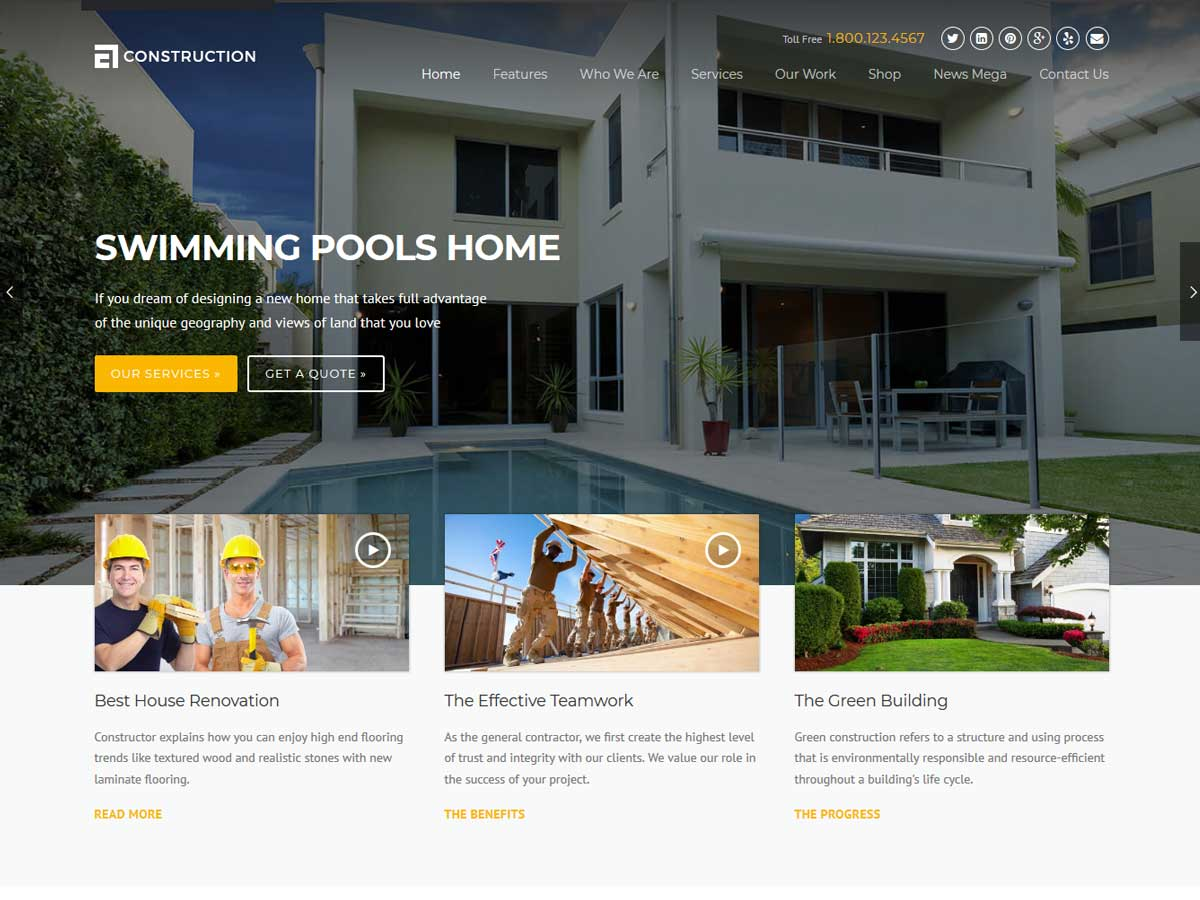 Construction WordPress Theme is a theme especially suited for building, building companies and building services websites.