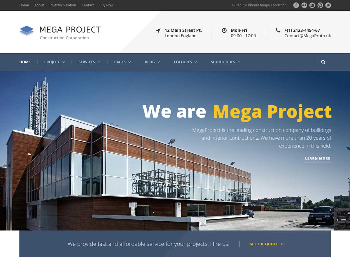 Mega Project - Construction WordPress is a clean responsive construction company website theme.