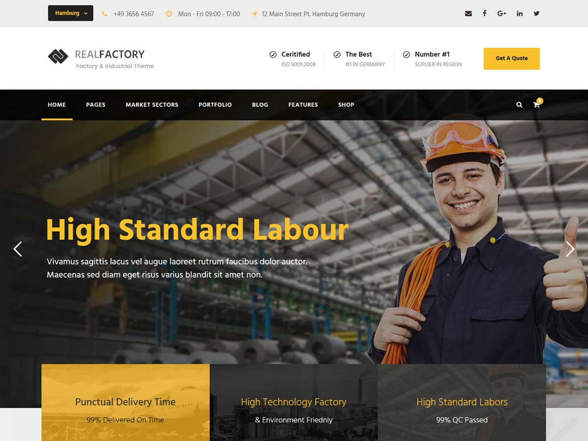 Real Factory - Construction WordPress theme.