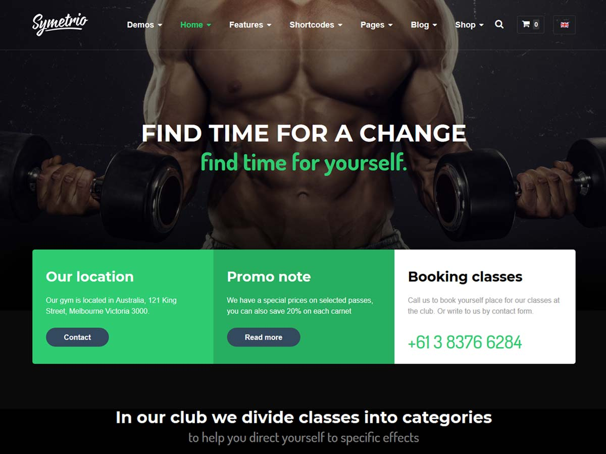 Symetrio – Gym & Fitness WordPress Theme is suitable for building Gym Sport & Fitness Club website.