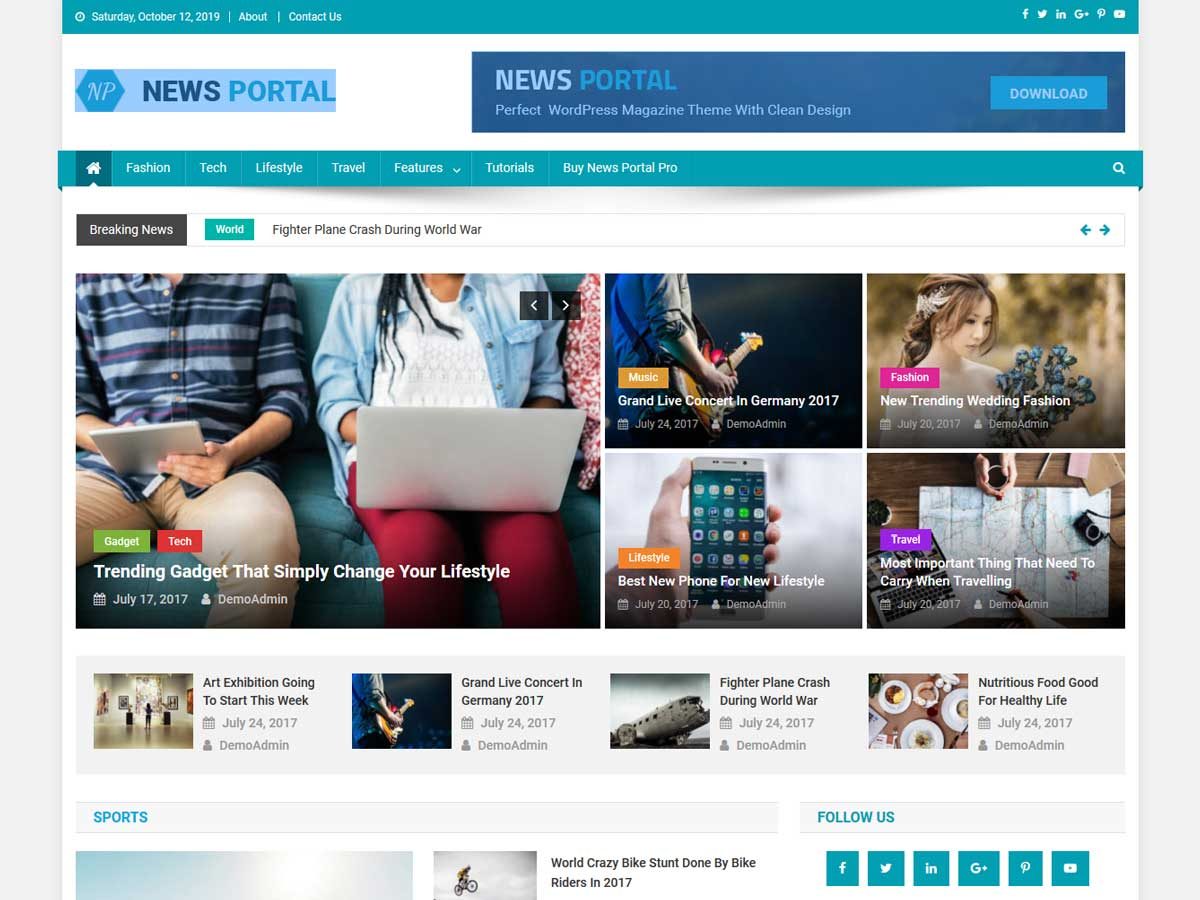 News Portal News Portal is a creative responsive magazine WordPress theme.