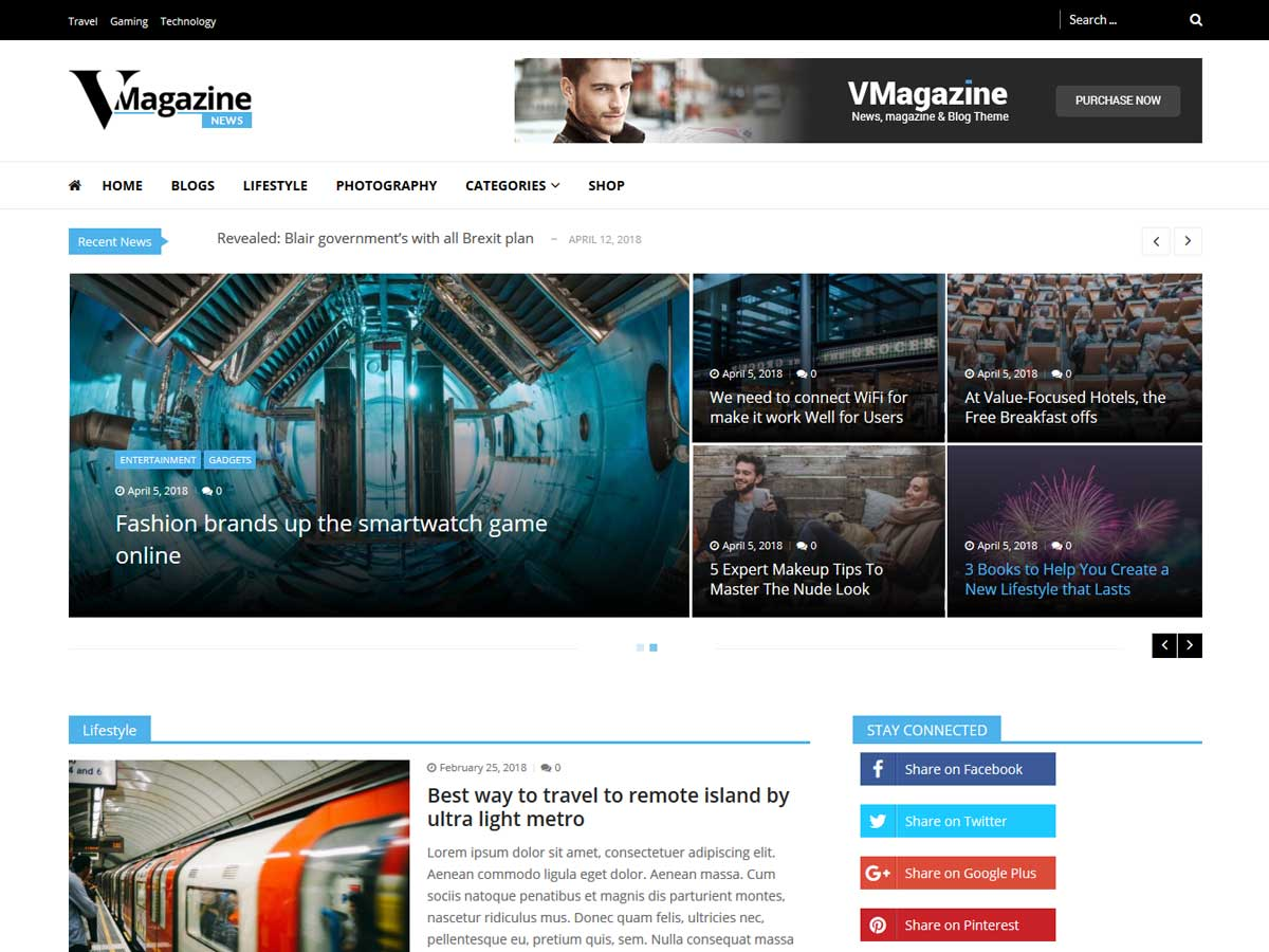 Vmagazine News is an amazing 100% mobile-friendly free online magazine WordPress theme.