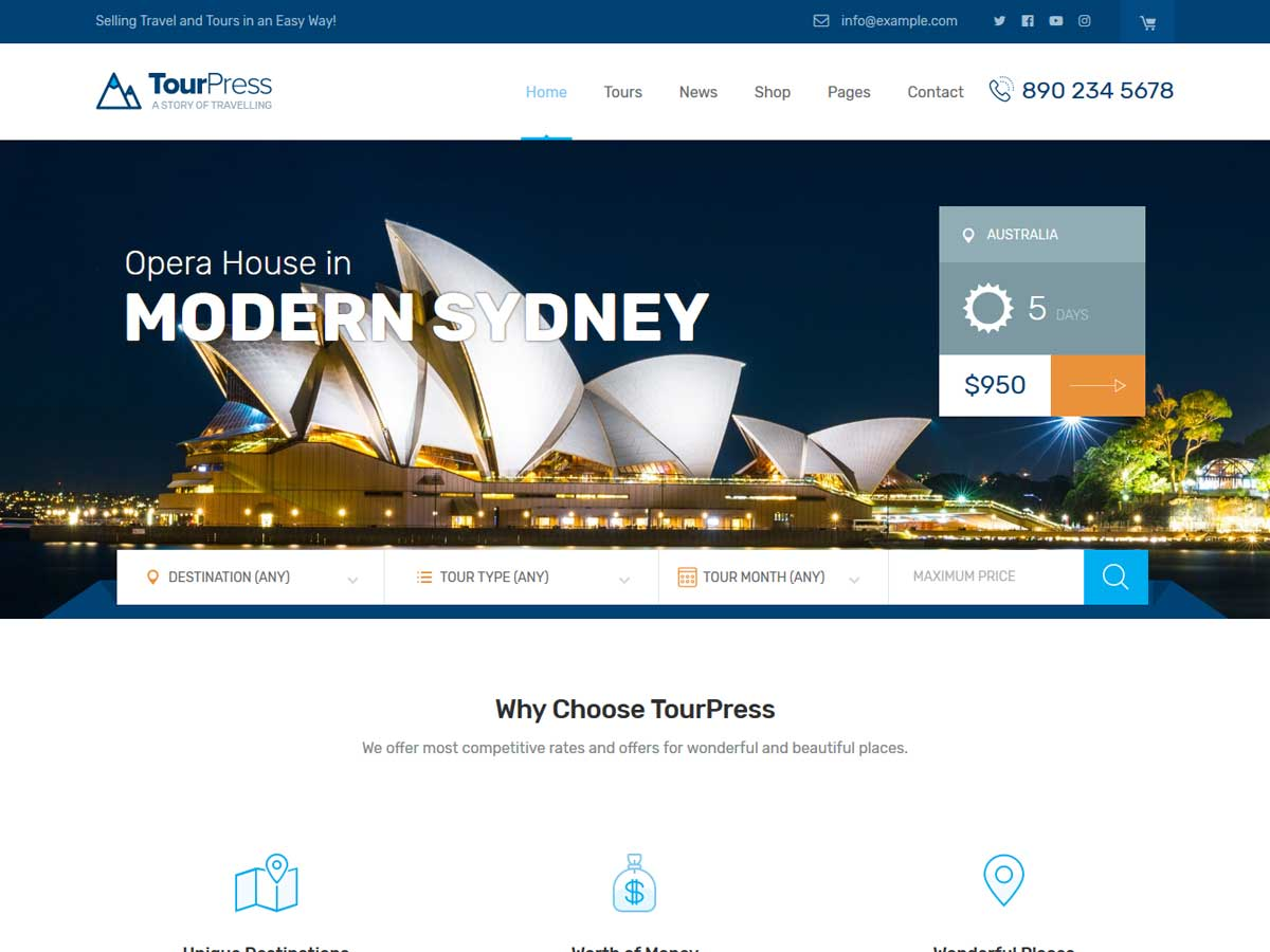 TourPress - Travel Booking WordPress Theme