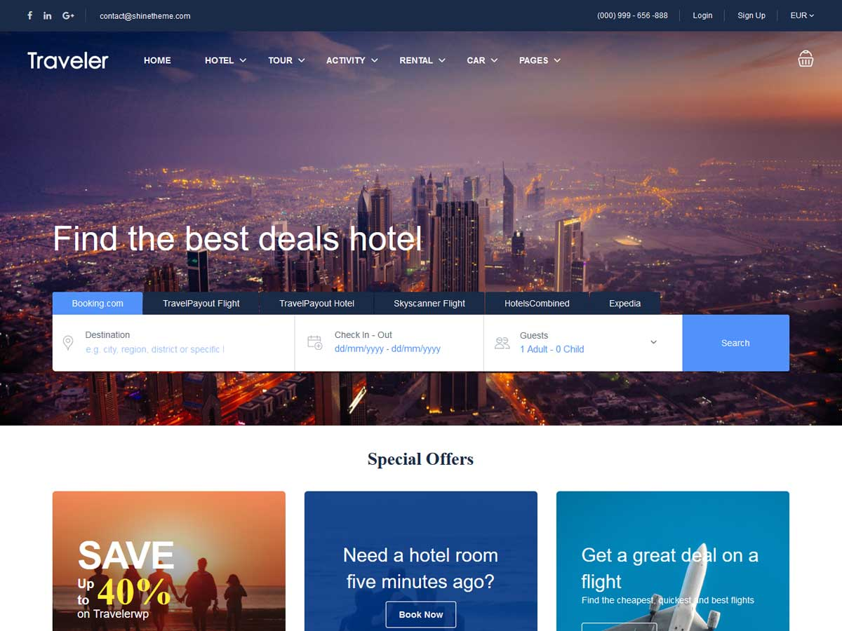 Traveler – Travel Booking WordPress Theme