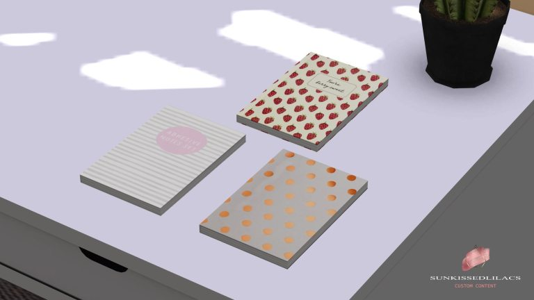 Notebooks, high quality sims 4 cc, sunkissedlilacs, free sims 4 decor, sims 4 custom content,