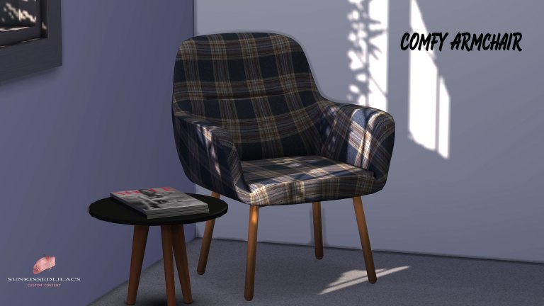 Comfy Armchair, sims 4, custom content, sunkissedlilacs, furniture