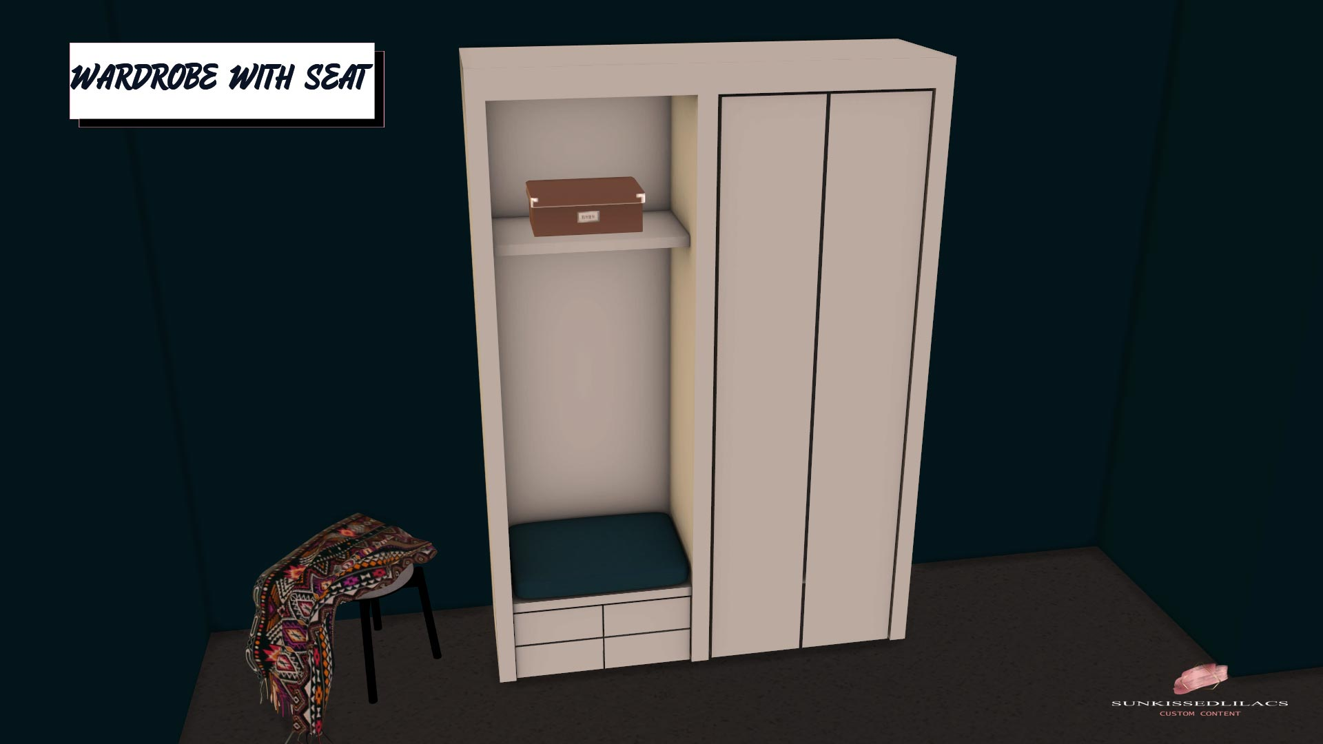 Wardrobe With Seat, high quality sims 4 cc, sunkissedlilacs, free sims 4 furniture, sims 4 custom content,