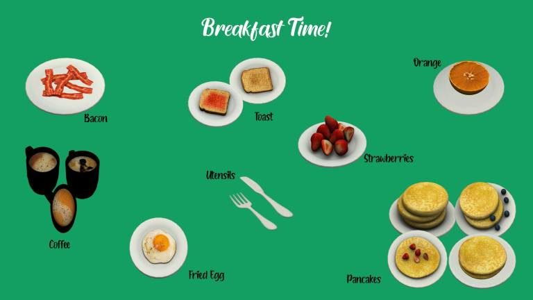 Breakfast Time, high quality sims 4 cc, sunkissedlilacs, free sims 4 decor, sims 4 custom content,