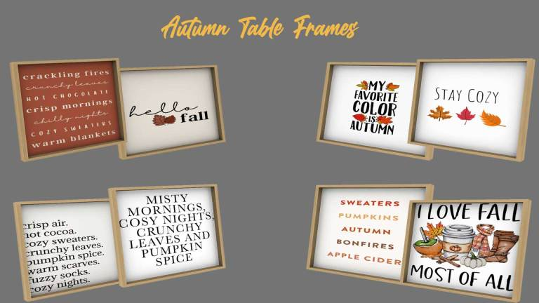Autumn table frames, high quality sims 4 cc, sunkissedlilacs, free sims 4 furniture, sims 4 custom content,