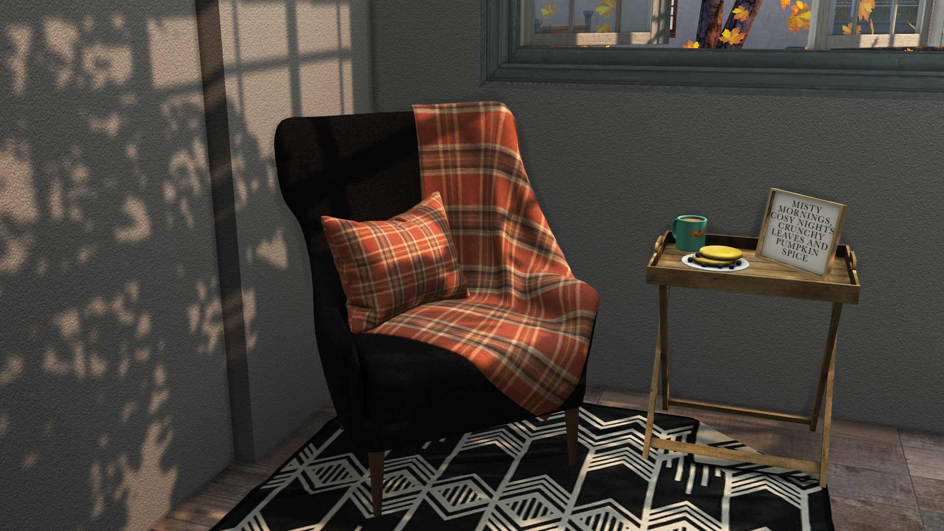 Cozy Autumn Seating, high quality sims 4 cc, sunkissedlilacs, free sims 4 furniture, sims 4 custom content,