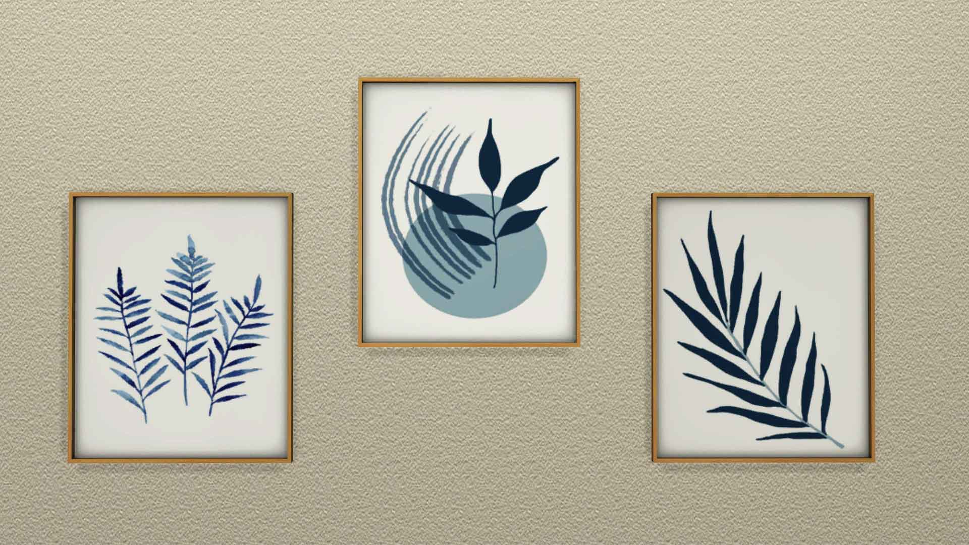 Blue Plant Paintings, high quality sims 4 cc, sunkissedlilacs, free sims 4 decor, sims 4 custom content,