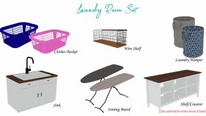 Laundry Room set, high quality sims 4 cc, sunkissedlilacs, free sims 4 furniture, sims 4 custom content,