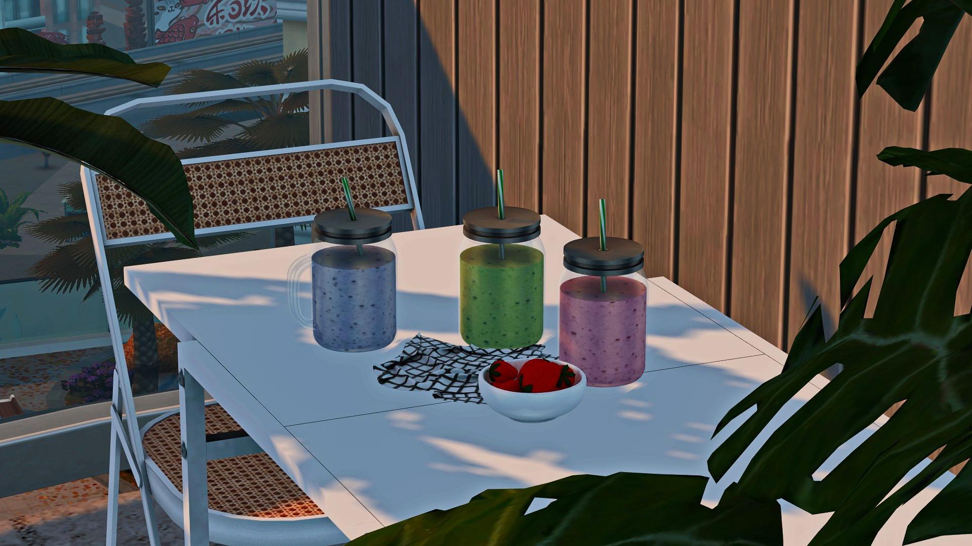 Mason Jar Smoothie, high quality sims 4 cc, sunkissedlilacs, free sims 4 furniture, sims 4 custom content,