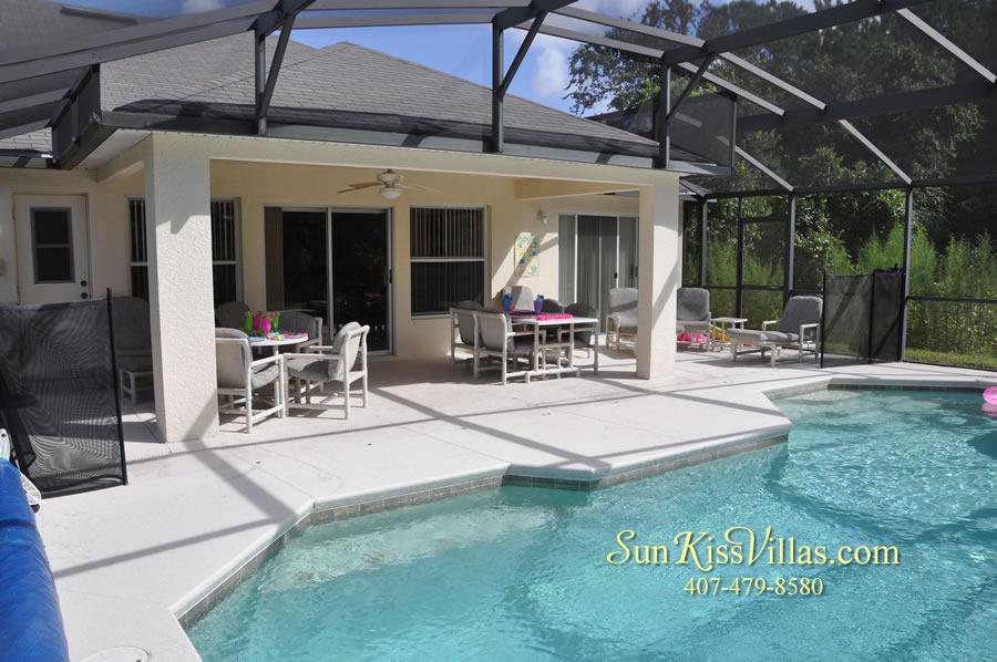 Orlando Disney Villa Rental - Grand Palms - Pool and Covered Lanai