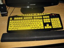 """This keyboard, black with yellow keys with large black lettering is very easy to read; check out """"Keys U See"""" online for more information. Keys are easier to see especially with those bi and tri focal. I certainly find it handy with my half glasses."""