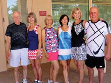 IronOaks Tennis Club hosted another successful Fashion Show and Snow Bird Send Off on April 10. This annual event is held with Tennis Cabana providing the latest in tennis fashion. Pictured from left to right are John Radcliff, Drena Radcliff, Jeri Schulz, Dennis Lott, Judy Gahide and Paul Gahide.