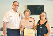 Deputy Chief Tim Kelly, Carolyn Barrans (15 years) and CAP Steering Committee member Betty Earp.