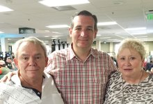 Ed Dean (left) and Paulette Schaier (right) were surprised to meet Senator Ted Cruz at the Reno, Nevada Airport.