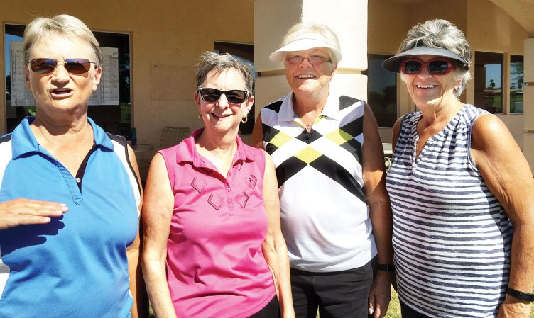 The early tee time gals: Shirley Weaver, Betty Schechter, BJ Schuller and Bev Lutes.