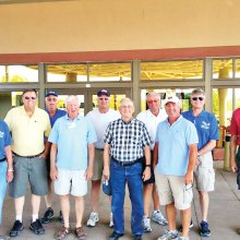Sun Lakes Aero Club members participating in the April 21 fly-in (pictured left to right) Gary Vacin, Hank Beliema, Walt Scheidereiter, Warren Wallace, Tom Howard, Gene Evans, Bill Brown, Pat Bricco, Steve Perkins and Paul Beeks.