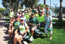 Participants at the mixed doubles social