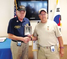 Mick Tucker (left) receiving award for past Commander from Jay Sanderson, present Commander
