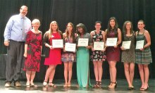 Basha Principal David Loutzenheiser and Gila Butte Scholarship Chair Carolyn Hawkins with scholarship recipients.