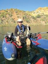 George Abernathy fishing at Saguaro Lake last year on a day trip.
