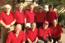 MOGA officers and committee persons with their proud red MOGA golf shirts are front row (left to right): Paul Dinardo, tournaments; Aki Yasuda tournaments; Craig Annis, vice president and Rich Castro, membership; Back row (left to right): Jim Hooyman, treasurer; Dan Bogaard, Handicap Chairman; John Kolb, secretary; Doug Braun, president and Blair Poitras, awards chairman